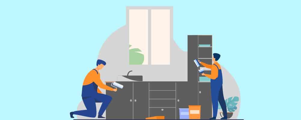 2 Men painting kitchen cabinet
