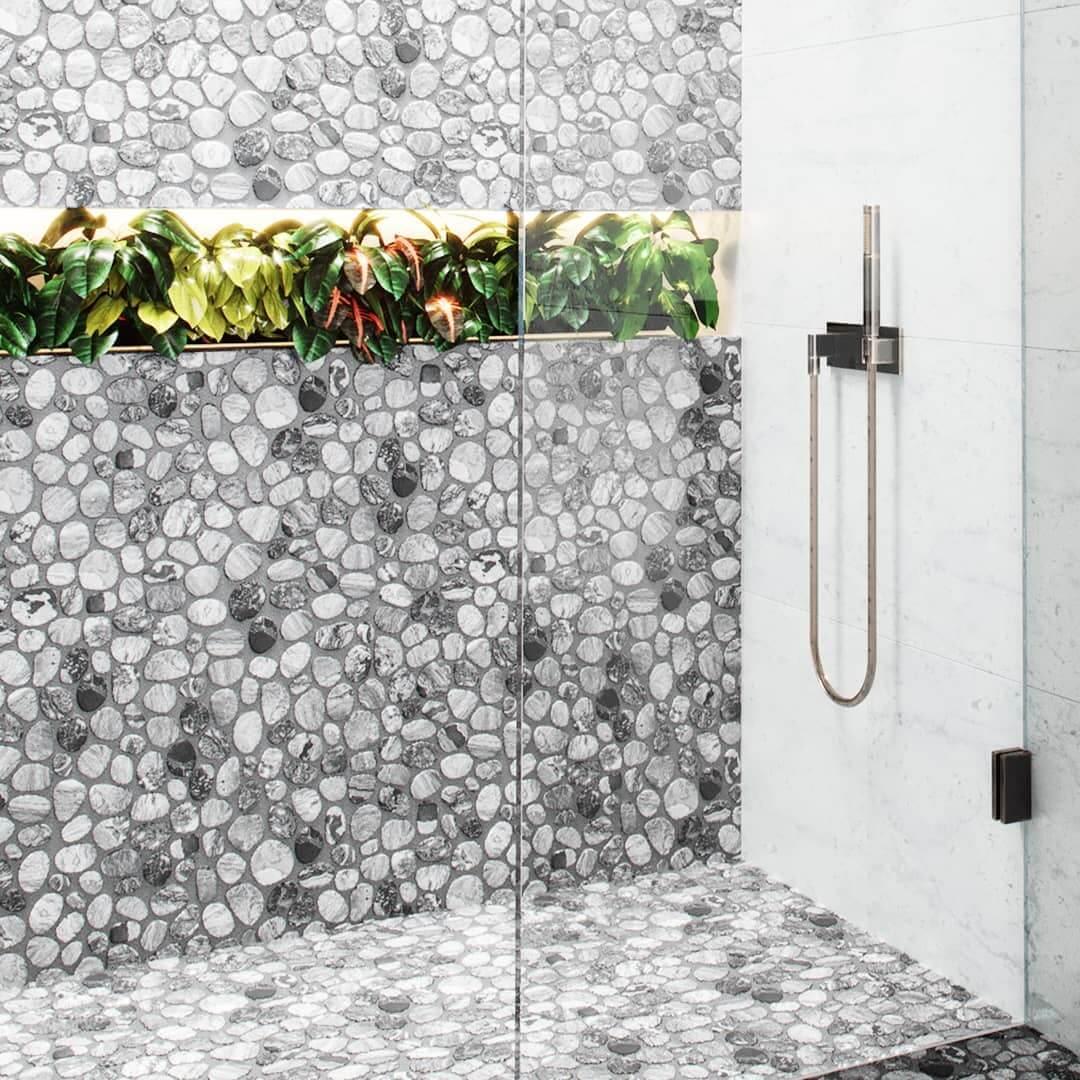 Gray and Black Pebble Tiles