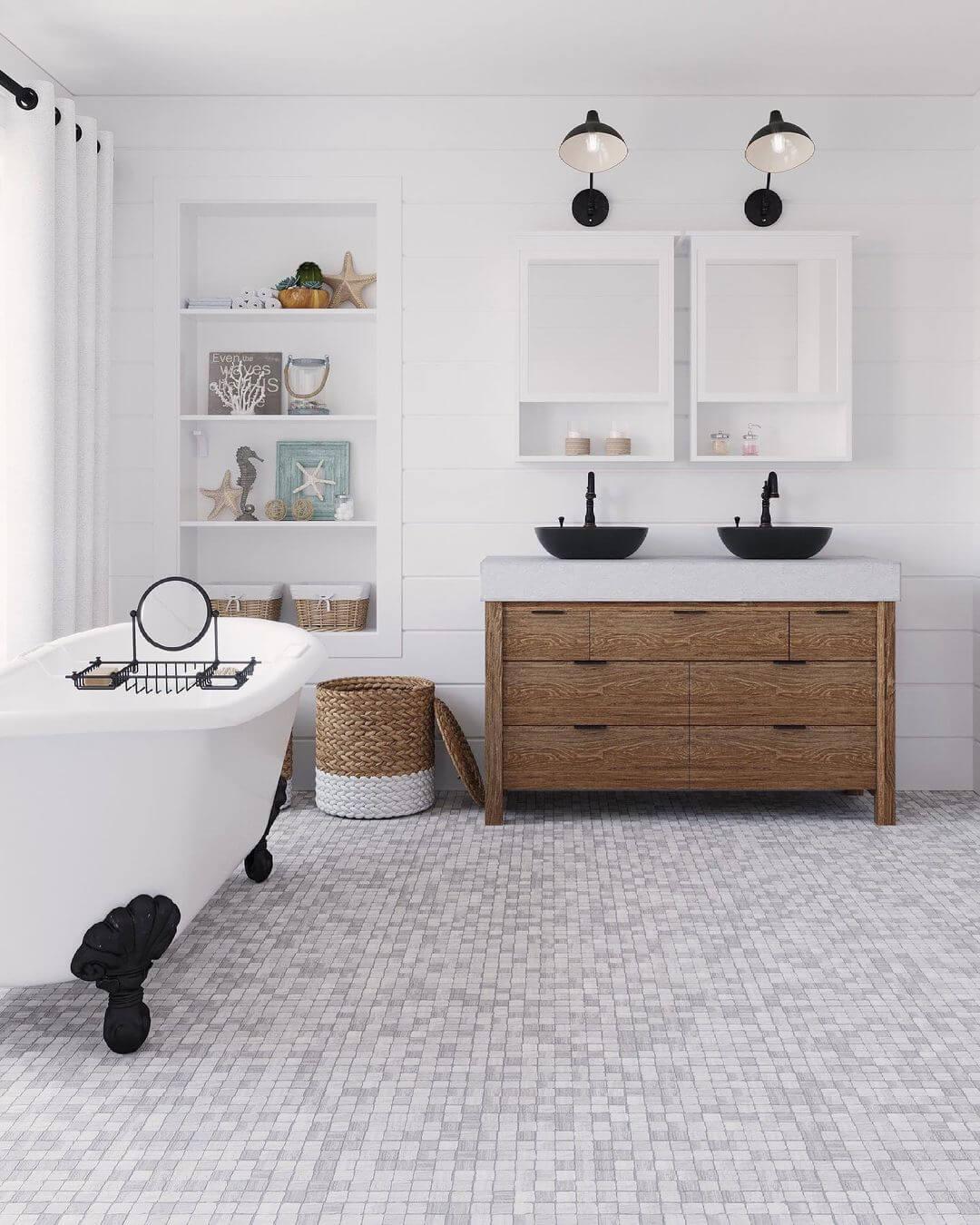 Plaza Wooden Beige Marble Mosaic Tile