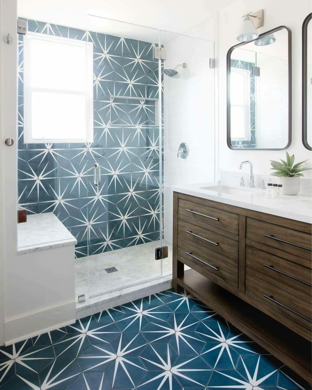 Shower Blue Cement Sunburst Tiles
