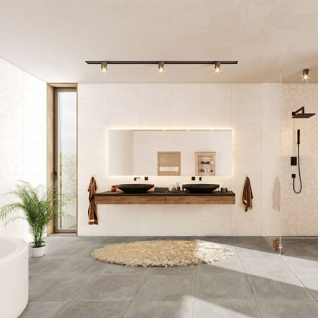 Stone and Marble-Effect Ivory Tile
