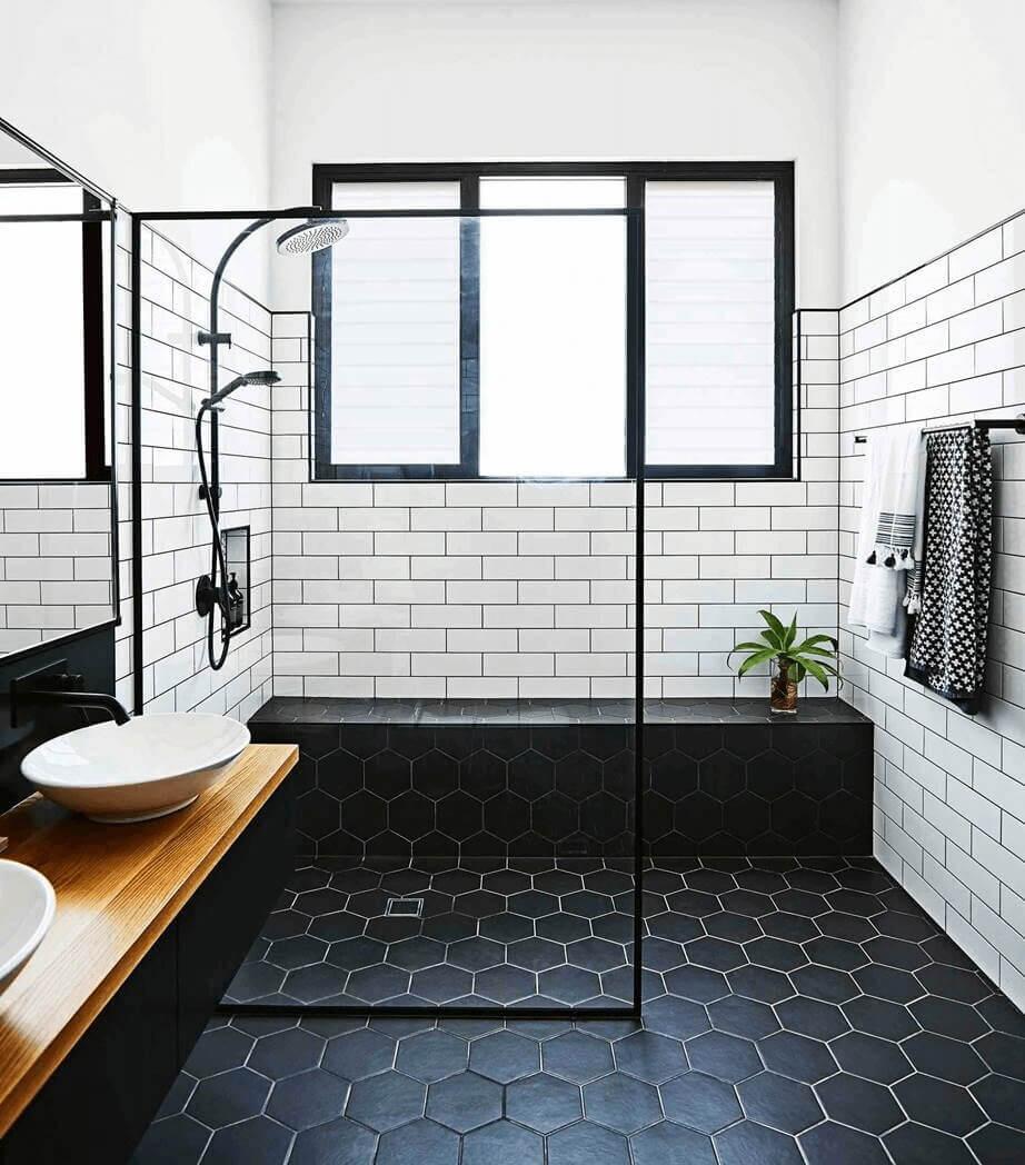 Textile Hex Black Porcelain Floor Tile