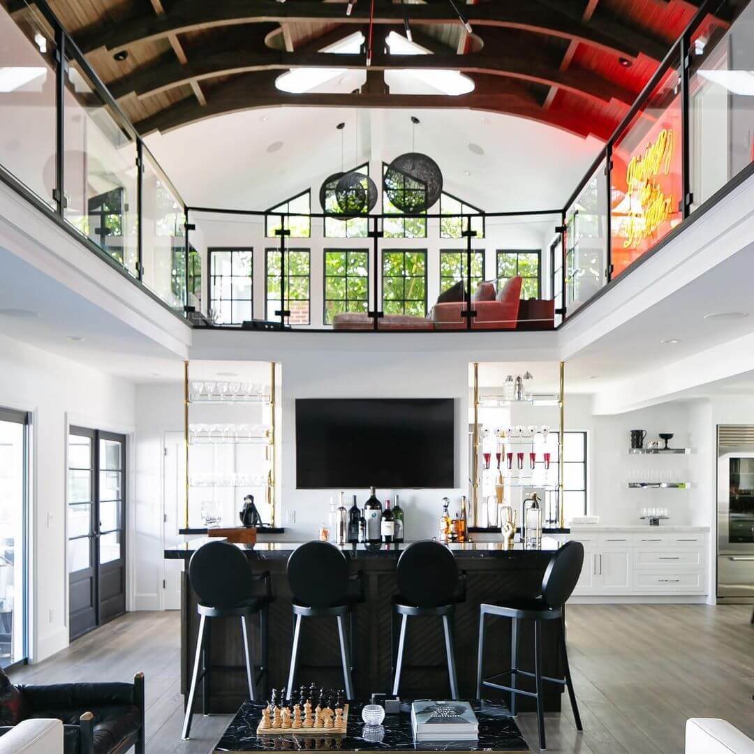 A Statement Ceiling Basement Bar Design