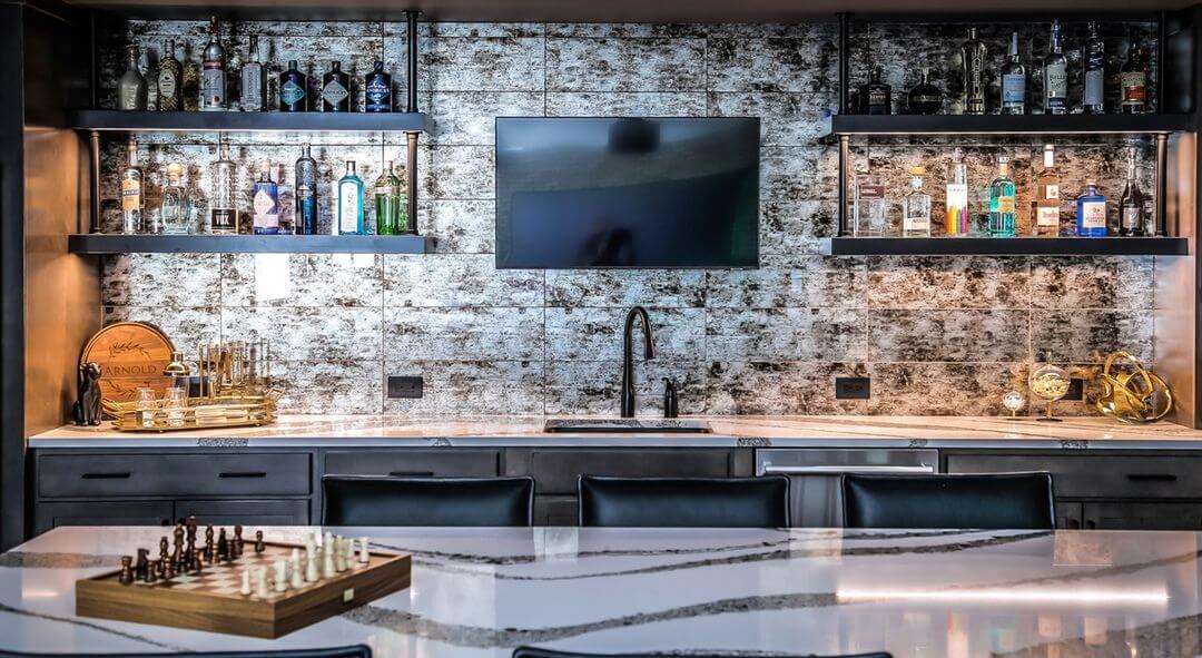 Cocktail Contemporary Basement Bar