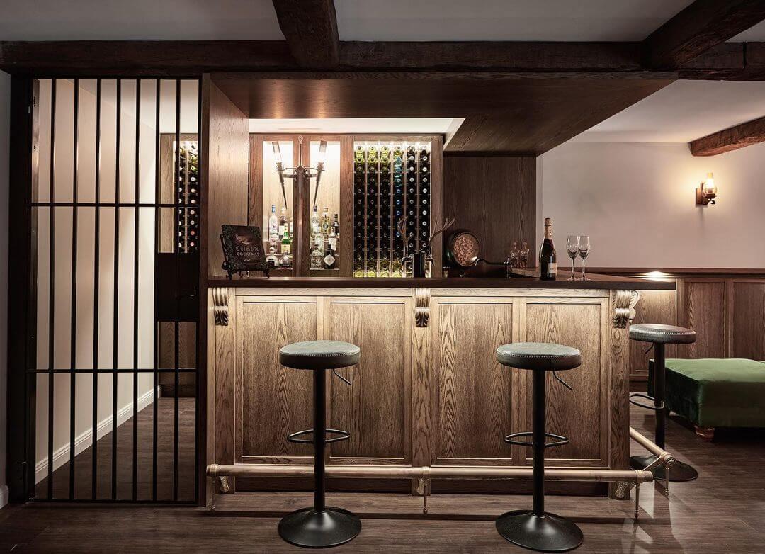 Contemporary Basement Bar Design