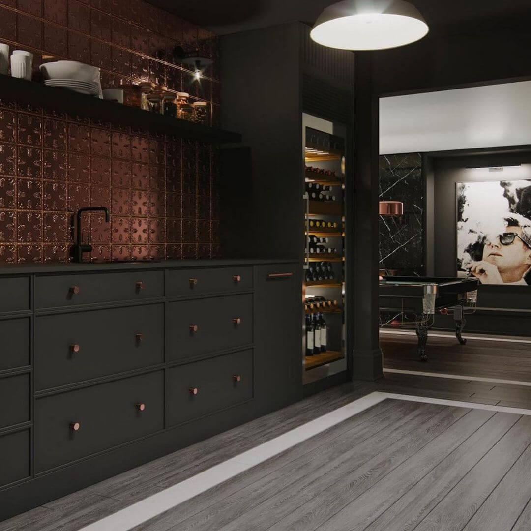 Dark and Dramatic Basement Bar Design