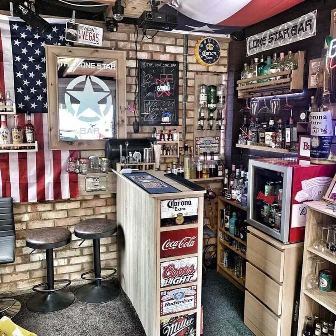 Garage Style Basement Bar Design