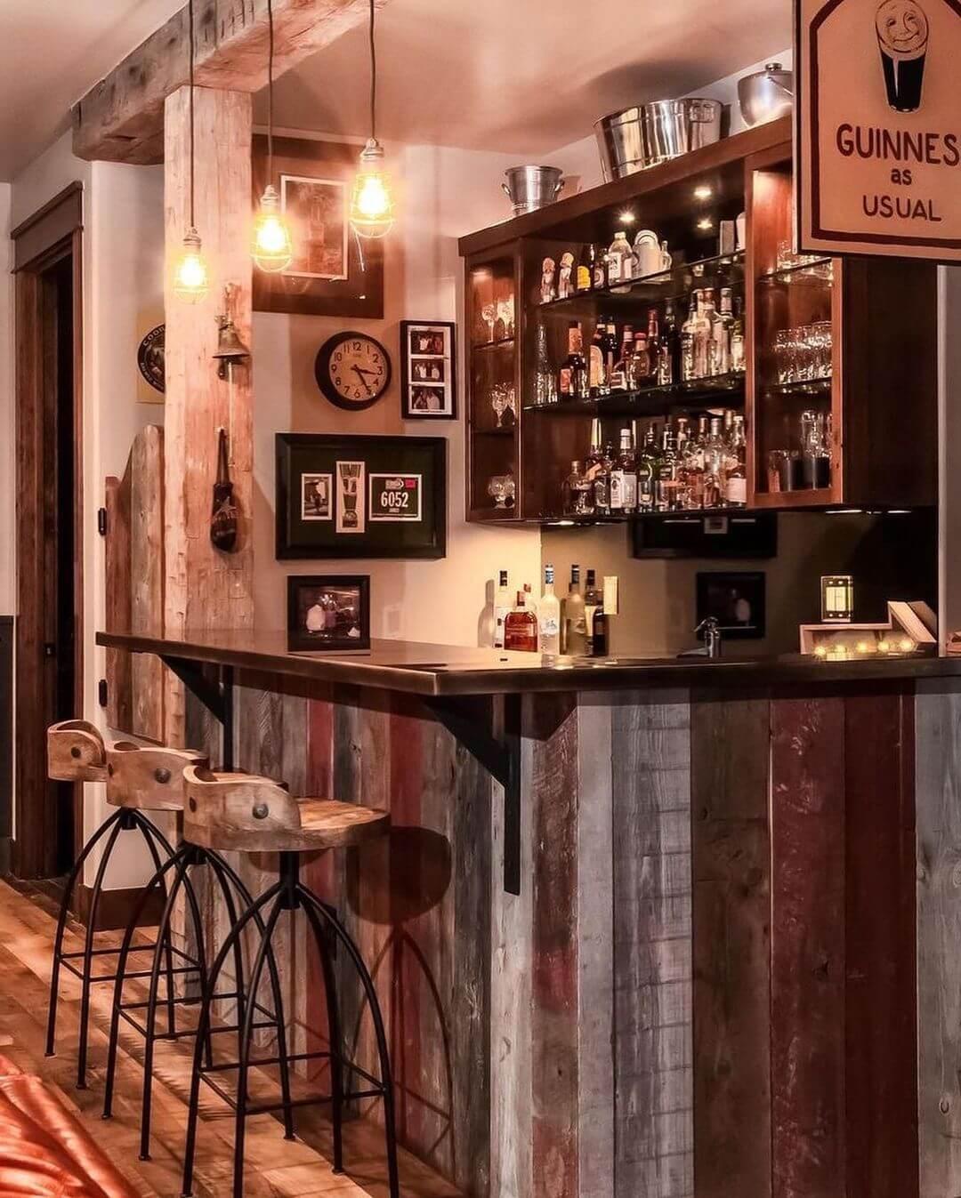 Industrial Meets Rustic Basement Bar Design