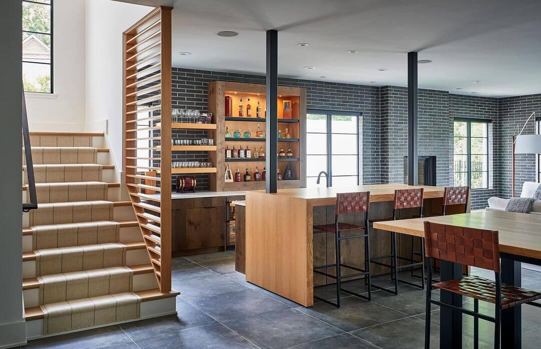 Inviting Basement Bar Design
