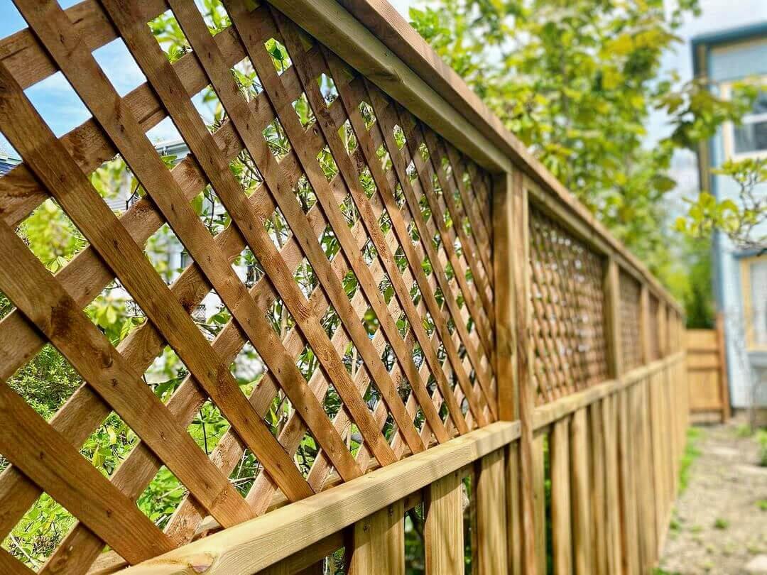 Lattice-Top Wood Fence