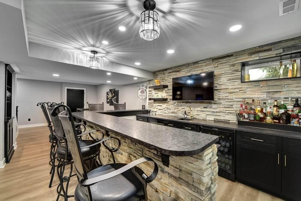Amazing Soapstone Basement Bar Design