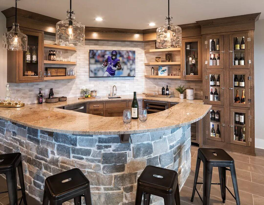 Stone Style Basement Bar