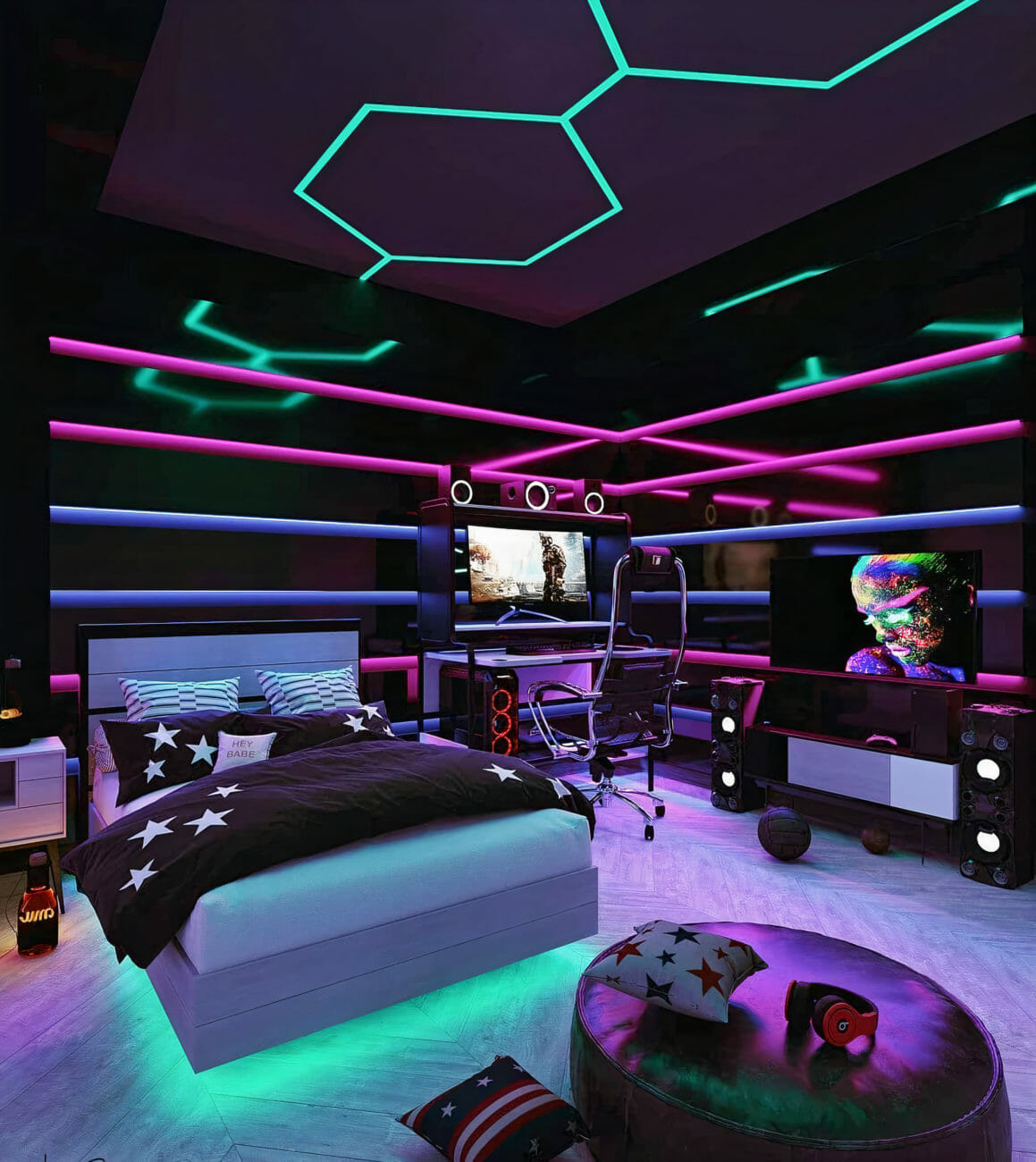 Gaming-Room Design With Bed