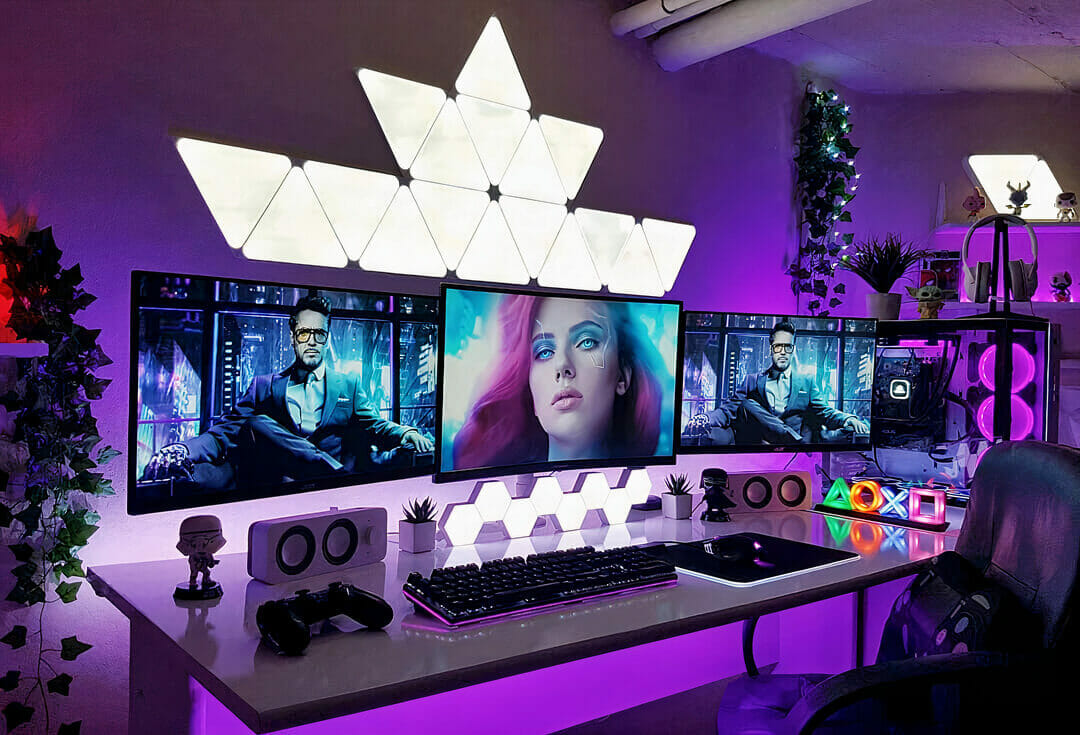 Gaming Room With Neon Lighting