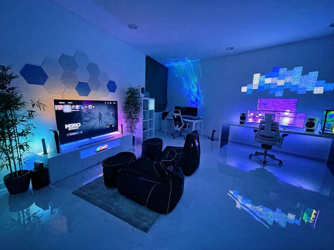 Man-Cave Gaming Setup